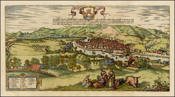 13-Spain Map By Georg Braun  &  Frans Hogenberg