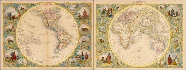 96-World, Eastern Hemisphere, Western Hemisphere, South America and America Map By John Tallis