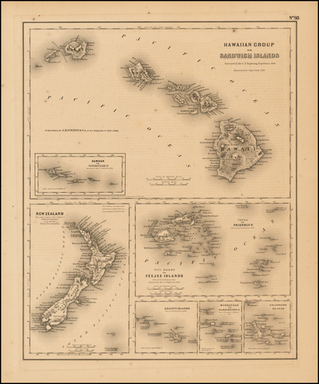 48-Hawaii, Hawaii and Other Pacific Islands Map By Joseph Hutchins Colton