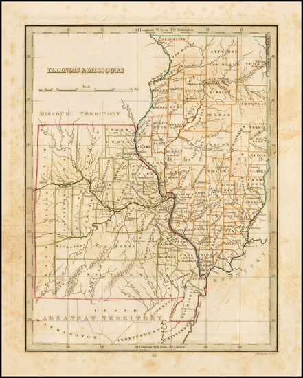 84-Midwest, Illinois, Plains and Missouri Map By Thomas Gamaliel Bradford