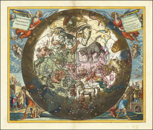 22-Celestial Maps Map By Andreas Cellarius