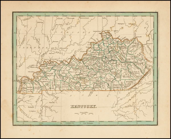 95-South and Kentucky Map By Thomas Gamaliel Bradford