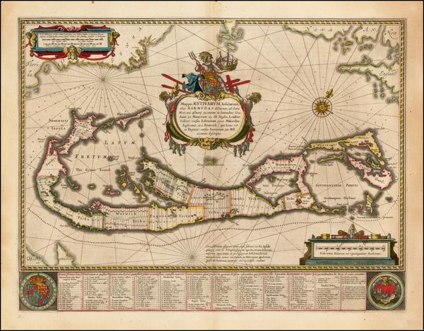 90-Atlantic Ocean, Caribbean and Bermuda Map By Willem Janszoon Blaeu