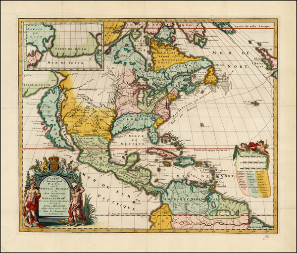 54-Midwest and North America Map By Louis de Hennepin