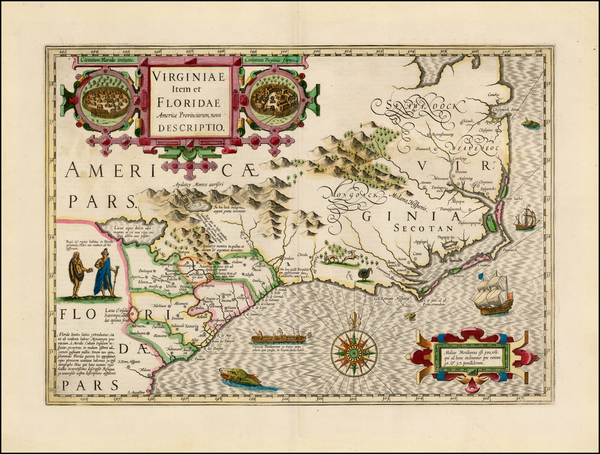 52-Mid-Atlantic and Southeast Map By Jodocus Hondius