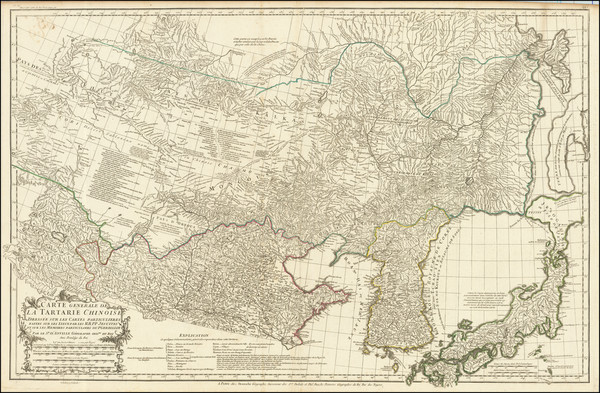 China, Japan, Korea and Central Asia & Caucasus Map By Jean André Dezauche / Jean-Baptiste Bourguignon d'Anville