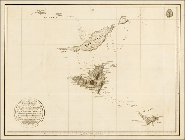 21-Caribbean and Other Islands Map By Cosme Damian de Churruca y Elorza