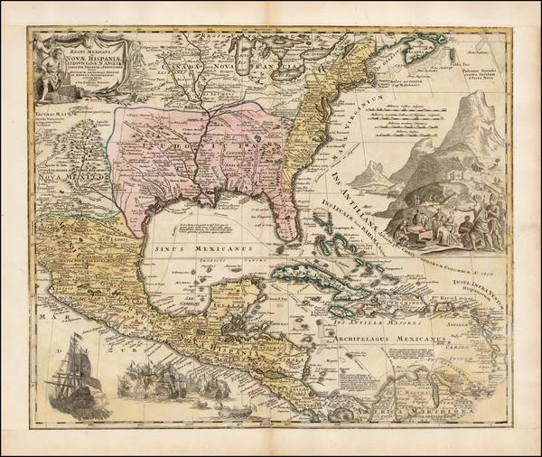 86-South, Southeast, Texas, Midwest and Caribbean Map By Johann Baptist Homann
