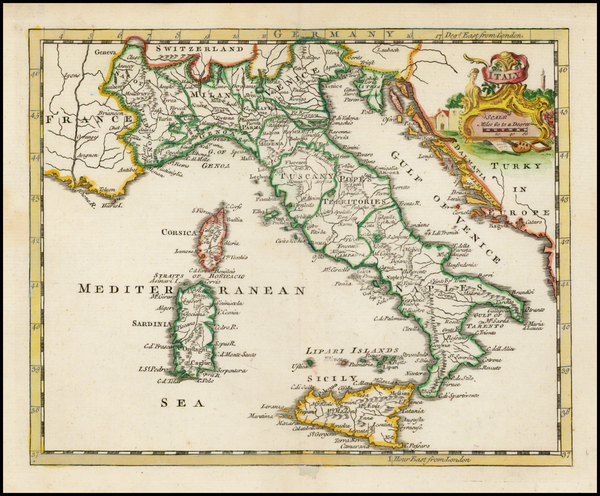 67-Italy Map By Thomas Jefferys