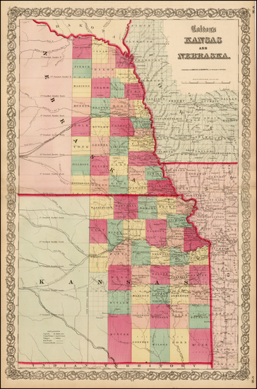 90-Kansas and Nebraska Map By Joseph Hutchins Colton
