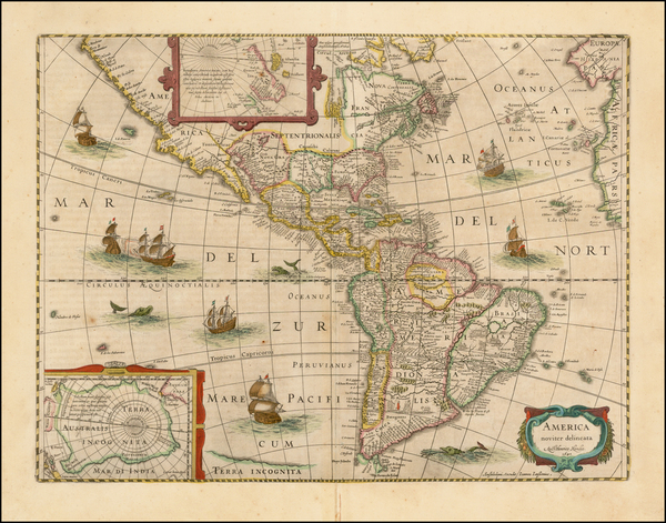 6-South America and America Map By Jodocus Hondius - Jan Jansson