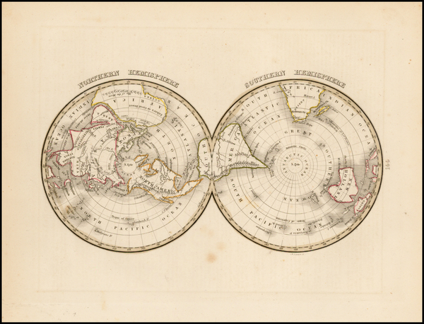 65-World, World, Northern Hemisphere, Southern Hemisphere and Polar Maps Map By Thomas Gamaliel Br