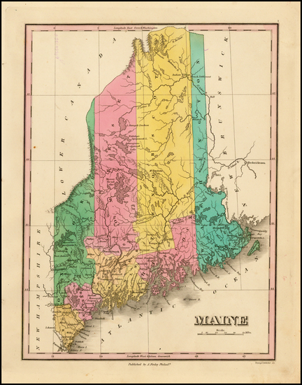 54-New England and Maine Map By Anthony Finley