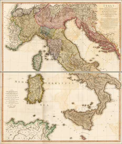 40-Austria, Balkans, Italy and Balearic Islands Map By William Faden