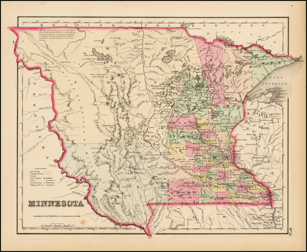 73-Midwest, Minnesota and Plains Map By Joseph Hutchins Colton