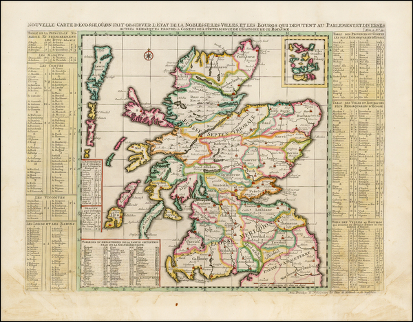 91-Scotland Map By Henri Chatelain