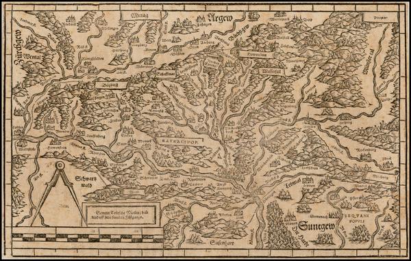 72-Switzerland and Germany Map By Johann Stumpf