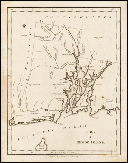 40-Rhode Island Map By John Stockdale
