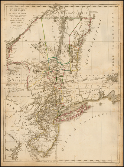 46-New York State and Mid-Atlantic Map By George Louis Le Rouge / Claude Joseph Sauthier / Bernard