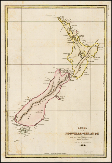 60-New Zealand Map By Jules Sebastian Cesar Dumont-D'Urville