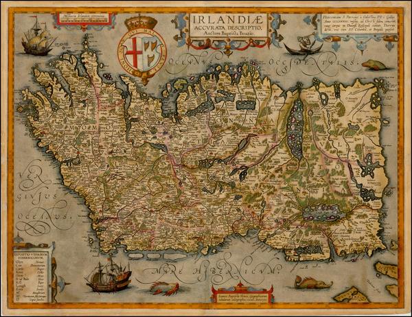 24-British Isles, Ireland and Balearic Islands Map By Abraham Ortelius / Johannes Baptista Vrients