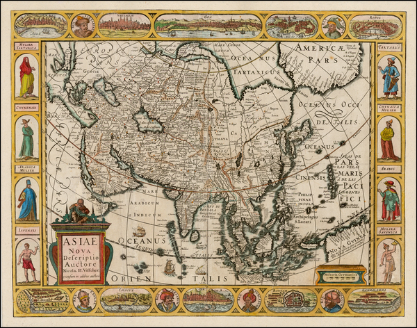 73-Asia and Asia Map By Claes Janszoon Visscher