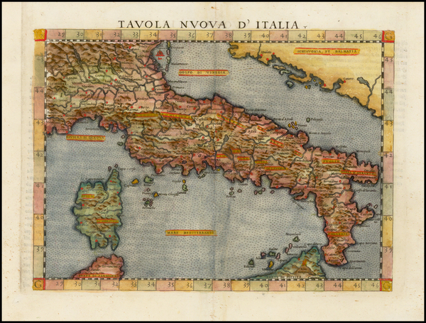 90-Italy and Balearic Islands Map By Girolamo Ruscelli
