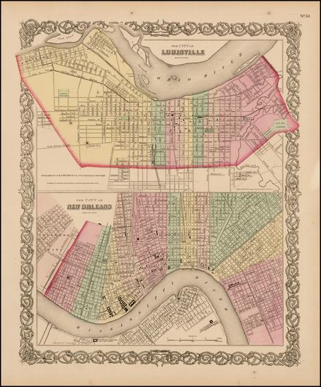 19-Louisiana and Kentucky Map By Joseph Hutchins Colton