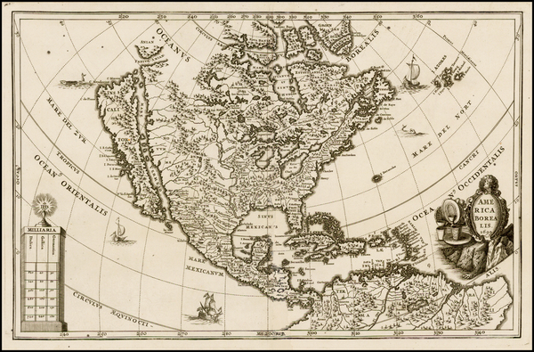 65-North America and California Map By Heinrich Scherer