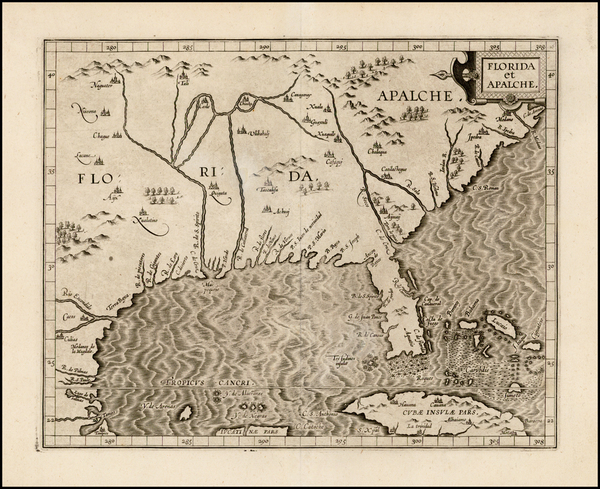 73-Florida, Southeast, Texas and Caribbean Map By Cornelis van Wytfliet