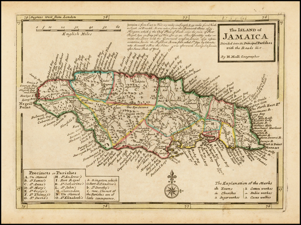 24-Jamaica Map By Herman Moll