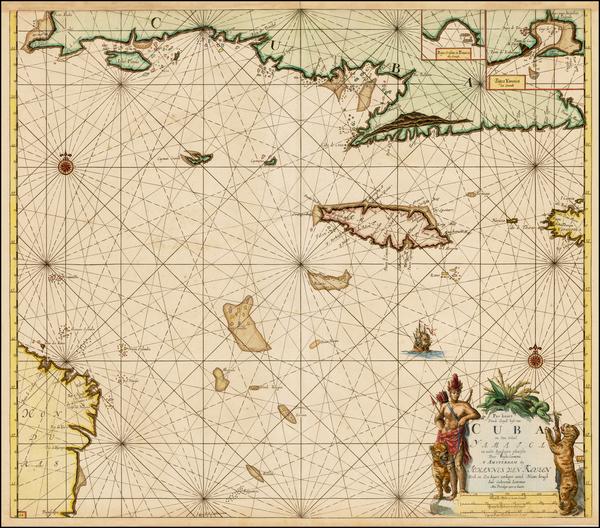 45-Caribbean, Cuba and Jamaica Map By Johannes Van Keulen