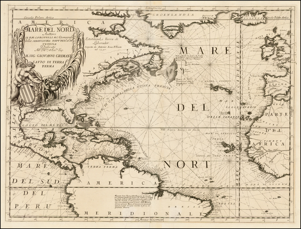 25-Atlantic Ocean, North America, South America and America Map By Vincenzo Maria Coronelli