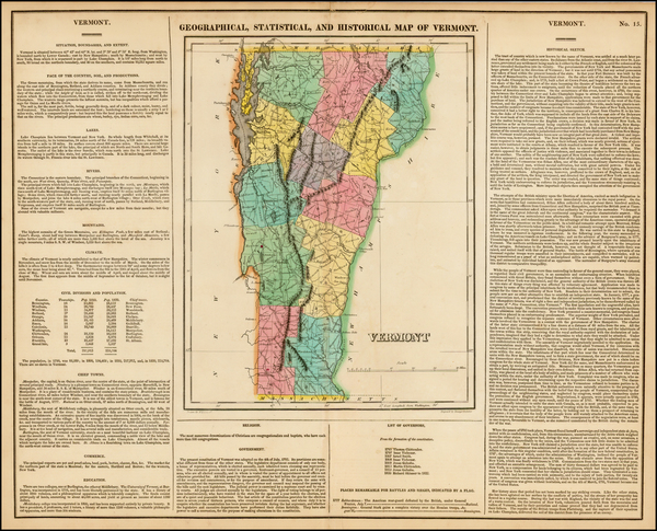 5-New England and Vermont Map By Henry Charles Carey  &  Isaac Lea