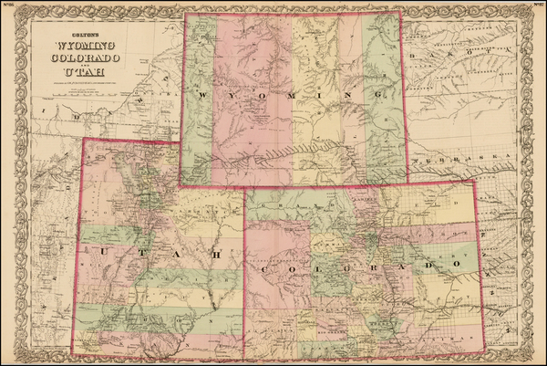 6-Plains, Rocky Mountains, Colorado, Utah and Wyoming Map By G.W.  & C.B. Colton