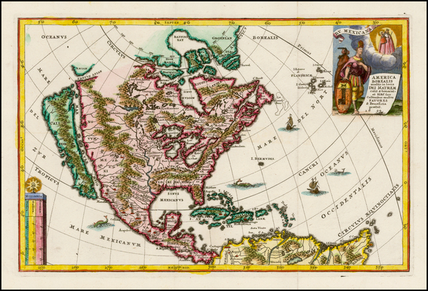 36-North America and California Map By Heinrich Scherer