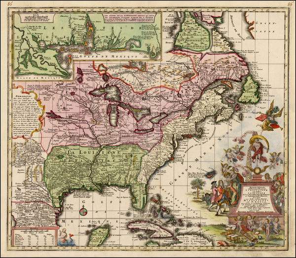 93-South, Southeast, Texas, Midwest and North America Map By Matthaus Seutter