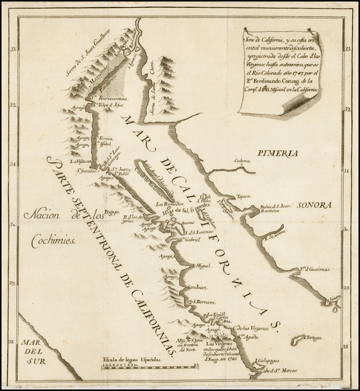 39-Southwest, Baja California and California Map By Ferdinando Consag