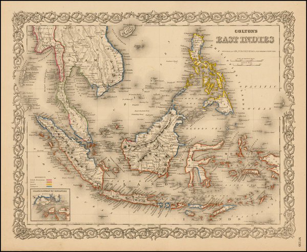 62-Southeast Asia, Philippines and Other Pacific Islands Map By Joseph Hutchins Colton