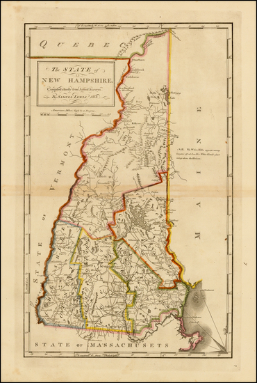 13-New England and New Hampshire Map By Mathew Carey