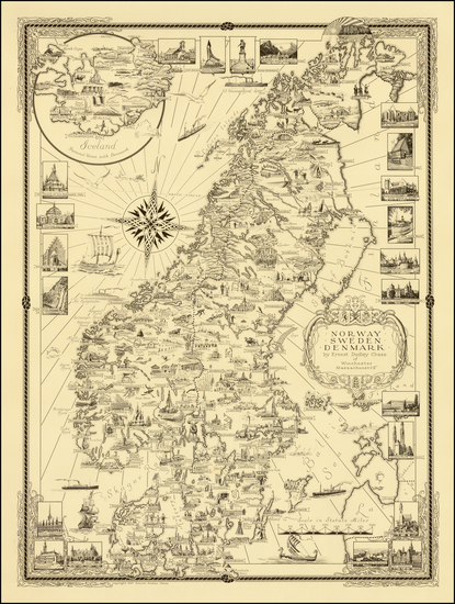 74-Scandinavia and Denmark Map By Ernest Dudley Chase