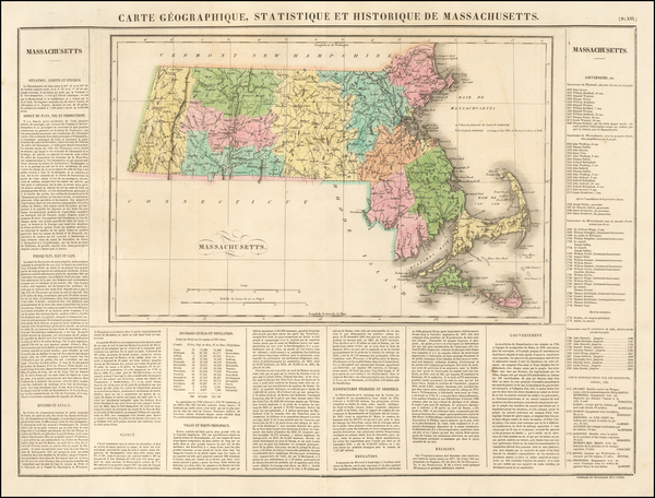 38-Massachusetts Map By Jean Alexandre Buchon