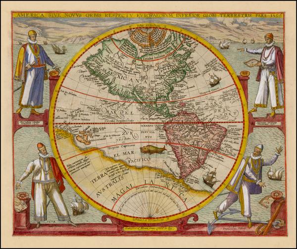 6-Western Hemisphere, North America, South America and America Map By Theodor De Bry