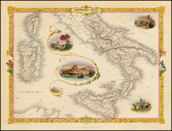 45-Italy and Balearic Islands Map By John Tallis