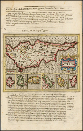76-Greece, Turkey, Balearic Islands and Cyprus Map By Jodocus Hondius / Samuel Purchas