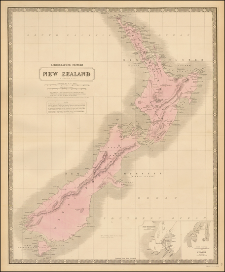 4-New Zealand Map By W. & A.K. Johnston