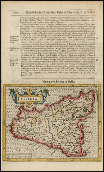 36-Italy and Sicily Map By Jodocus Hondius / Samuel Purchas