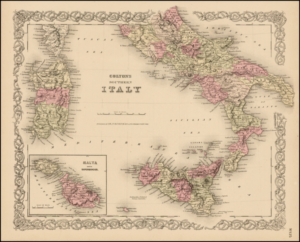 7-Italy, Mediterranean and Balearic Islands Map By Joseph Hutchins Colton