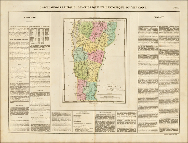 28-New England and Vermont Map By Jean Alexandre Buchon