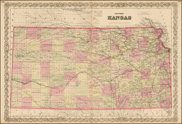 15-Plains and Kansas Map By G.W.  & C.B. Colton